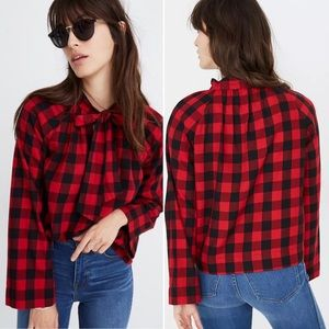 MADEWELL Tie-Neck Popover Shirt in Buffalo Check M